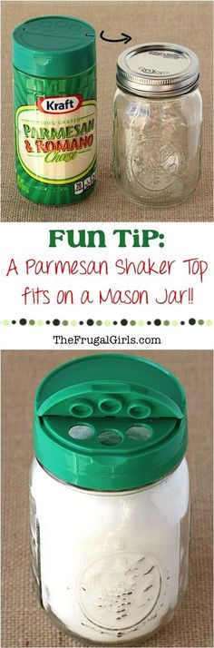 "Easy Trick: Parmesan Shaker Tops fit on Mason Jars! I LOVE using these tops for DIY Spices and Seasonings, Homemade Cleaners and more! Find this and more fun Tips at <a href=""http://TheFrugalGirls.com"" rel=""nofollow"" target=""_blank"">TheFrugalGirls.com</a>"