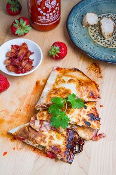 Strawberry Balsamic Grilled Chicken and Bacon Quesadillas #Yum