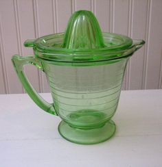 Antique Green Depression Glass Reamer