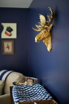 navy + gold boy nursery by love & lion