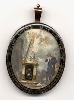A mourning brooch, 1780-1810, commemorating the death of a mother and several of her children (their ghosts are pictured above the memorial shrine), the scene enclosed with the legend 'In Death Lamented as in Life Beloved'. (thingsgoneby.com)