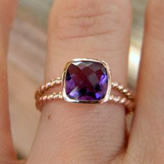 Rapunzel Ring In 14k Rose Gold and Grape Amethyst by onegarnetgirl, $798.00