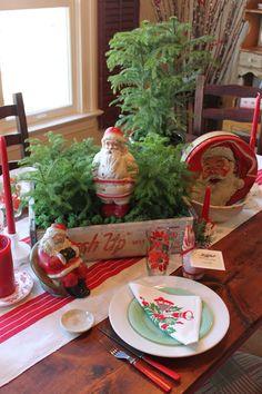 Christmas Table with vintage Santas