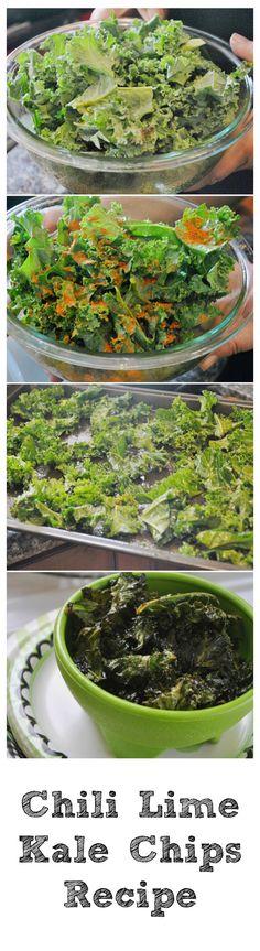 Chili lime kale chip recipe. Easy and so fresh. http://www.momtrends.com/2014/08/baby-shower/ #vegetarian
