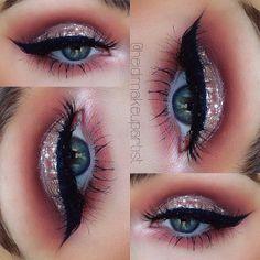 color palettes, eye makeup, metal, brows, beauti, eyemakeup, glitter, black, eyes