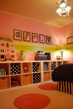 pink green black white polkadot girls room decor