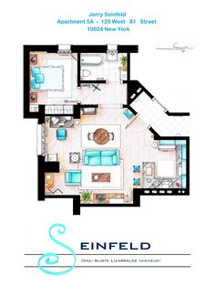 "SEINFELD's APARTMENT v2. This is a hand drawed plan, in scale, coloured with colour pens and with full details of furniture and complements ... The design is made according with the ""real"" apartments respecting the spaces, proportions, furniture and objets presents in the studio. Some sets have changed throughout the different seasons and this floorplan is a mixture of various of them. If you want to buy an original artworks write me to ializar@hotmail.com or visit my ETSY store."