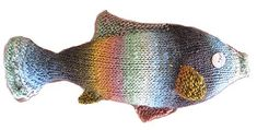 knitted fish pattern, fish toy, knitting patterns, yarn, rainbow trout, cat toys