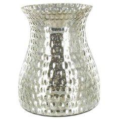 Silver Mercury Hurricane Vase with Ridges