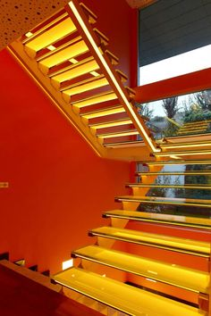 stairs, colors, colorful houses, oranges, architecture