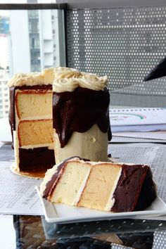 White/Carmel/Chocolate layer cake