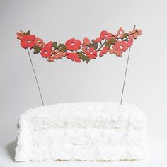 Hand Painted Flower Garland Cake Topper