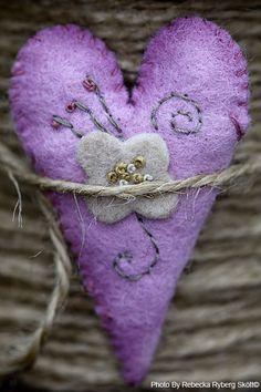 Lavender felt heart