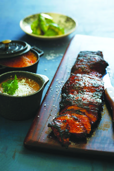 Carne Asade a la Tampiquena: Mexican Grilled, Marinated Skirt Steak with a Red Chile Marinade.
