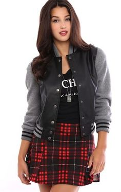 Deb Shops #Varsity Snap Front Jacket with Fleece Sleeves $26.25
