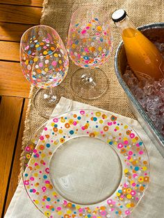 Bright Spring Confetti Dishes #DIY