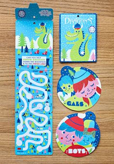 Snow Dragons Hang Tags | Tad Carpenter Creative