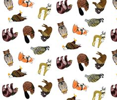 Good Ol' Critters gift wrap by Evenspor on Spoonflower