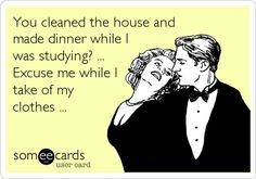 You cleaned the house and made dinner while I was studying? ... Excuse me while I take of my clothes ...