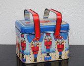 Vintage Tin Metal Basket, Toy Solider Nutcracker, Blue with Red handles