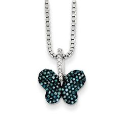 Sterling Silver 1/4 Carat White Blue Diamond Butterfly Pendant Necklace Available Exclusively at Gemologica.com