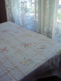 Vintage 1960s Terry Cloth Fabric Tablecloth Rectangle Stamp Block Flowers 2013475