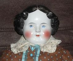 """Antique 28"""" German China Head Doll Victorian Boots & Clothing"""