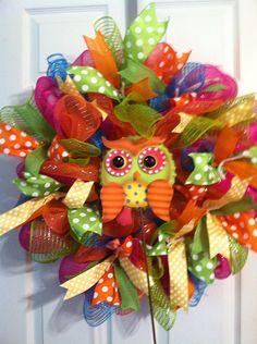 Spring/Summer mesh wreath/ Owl wreath