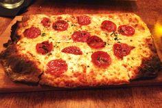 Pepperoni pizza from The Ledge, Dorchester, MA.  http://www.hiddenboston.com/foodphotos/the-ledge-pepperoni.html