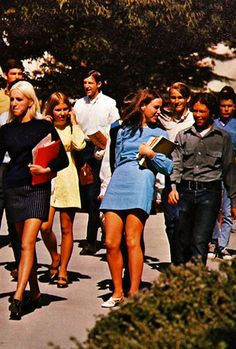 1973 Style. Wearing dresses to school... No pants for girls