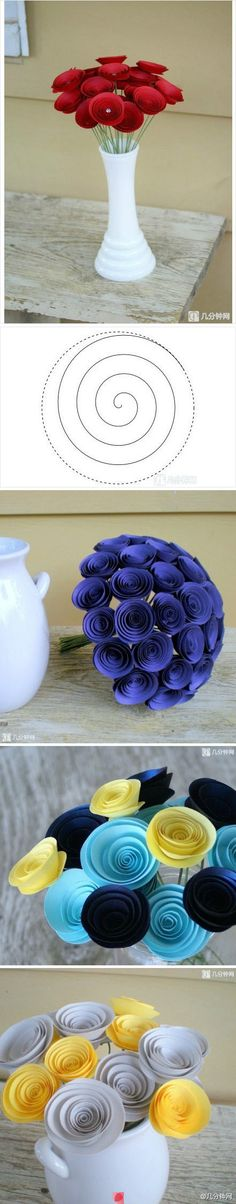 rose, craft flowers, idea, paper crafts flowers, circl, bouquets, paper flowers, diy, ribbon flower