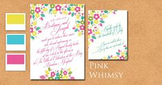 Whimsical wedding invitation with pink yellow by CharmedPaperie, $4.25