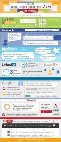 Sensible social media checklist for marketers - #infographic   #socialmedia #socialmediamarketing