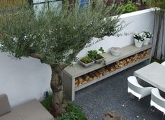 backyard ideas, side tables, bench, wood storage, patio, outdoor tables, wood shelves, tuin, small gardens