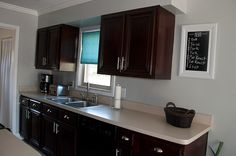 Shared and Doubled: Our Reality Kitchen - General Finishes Gel Stain in Java