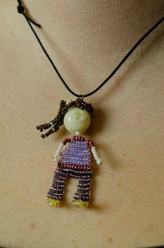 Seed Bead Doll Beaded Bead Necklace Pendant by innercreatures, #beads #beadwork