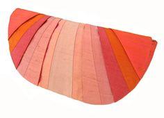 Coral Monochromatic Pleated Silk Clutch Purse via Etsy $50.00