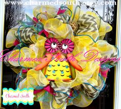 Chevron Owl Mesh Spring Wreath. $115.00, via Etsy.