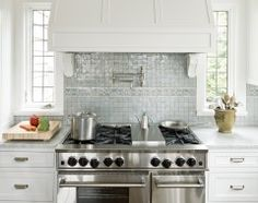 stove, back splashes, window, dream, range hoods, kitchen hoods, white cabinets, glass tiles, white kitchens