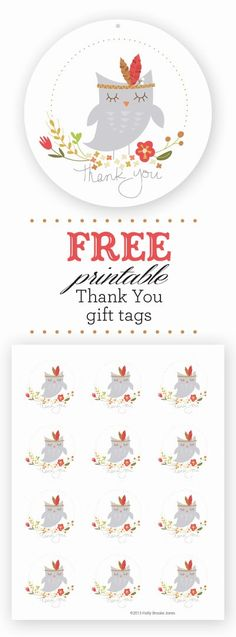 Free • Owl Printable Thank You • Gift tags