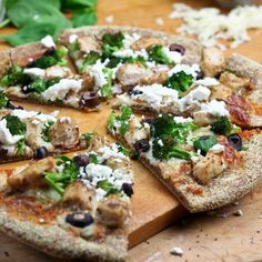 Chicken Broccoli Olive and Goat Cheese Pizza from The Healthy Foodie (http://punchfork.com/recipe/Chicken-Broccoli-Olive-and-Goat-Cheese-Pizza-The-Healthy-Foodie)