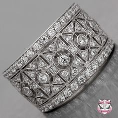 Vintage Art Deco Diamond Wedding Band Rings www.finditforweddings.com