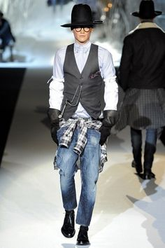 the vest, the glasses, the jeans d-dress