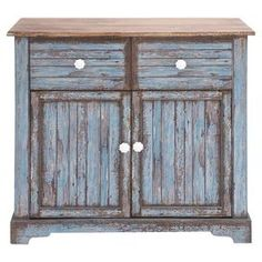 """Featuring a distressed blue wash finish and 2 doors, this 2-drawer cabinet adds rustic appeal to your master suite or home library.  Product: CabinetConstruction Material: WoodColor: Distressed blue wash and brownFeatures:  Two doorsTwo drawersDimensions: 35"""" H x 28"""" W x 16"""" D"""