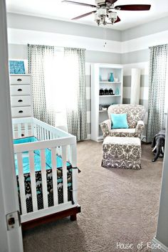 Grey and Blue Elephant Nursery or  instead of the crib a bed for a guest room cutest little boy room ever...so much better than sports and monkeys and jungle...can do so much with this!!!!