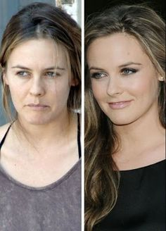 with and without makeup: I've always thought she was a pretty girl.  She doesn't look bad without makeup...just better with it.