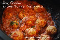 Slow Cooker Italian Turkey Meatballs #slowcooker #meatballs #healthy