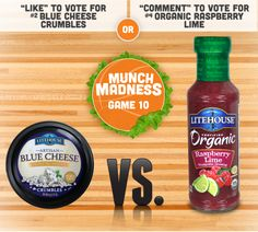 Today's game is intense and between two of our very favorite products! Artisan #BlueCheese crumbles and Organic Raspberry Lime... we need you to pick a favorite for us! Vote now, on Facebook, or Instagram for your chance to win over $500 in culinary prizes! #LHMunchMadness