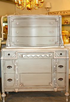 RESERVED 1920s Exquisitely Detailed Antique Six Drawer Dresser