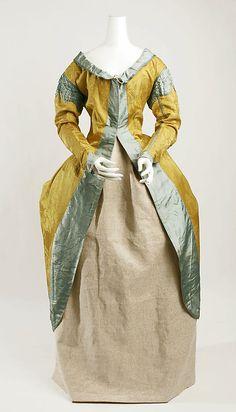 Silk robe a la polonaise (front), probably Italian, ca. 1787.